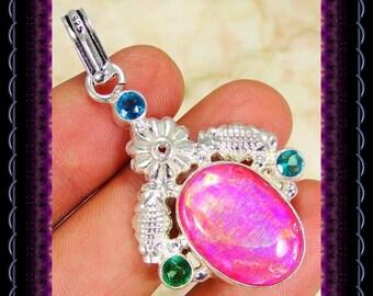 Lab Fire Opal Pendant