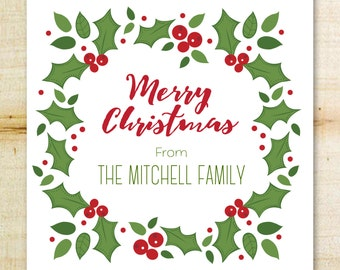 Christmas Gift Sticker | Personalized Christmas Labels | Holly and Berries Holiday Gift Tags, Holiday Labels | Custom Christmas Stickers