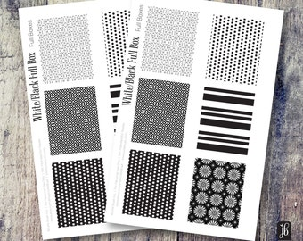 Planner Stickers | Full Box Stickers for Planners | Black and White Decorative Planner Stickers | Functional and Decorative Stickers