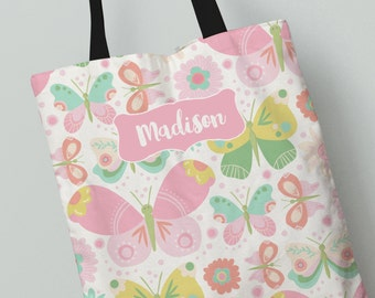 Elegant Personalized Tote Bag   Butterfly Garden Tote Bag   Great Gift Idea   All  Over Print