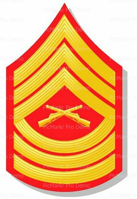 Marine Master Sargent Military Insignia Birthday - Edible Cake and Cupcake Topper For Birthday's and Parties! - D20489