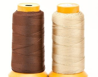 Coconut Brown or Pale Golden 0.5mm NYLON cotton Sewing THREAD, Spool of 270m/roll - 295.2 yards