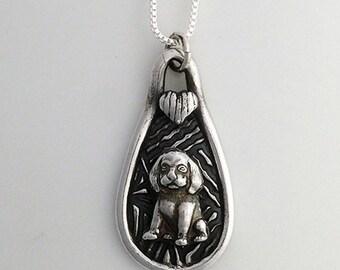 Puppy Love Pendant in Fine Silver
