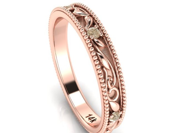 wedding bands engagement band bohemian wedding rings rose gold and champagne color diamonds - Bohemian Wedding Rings