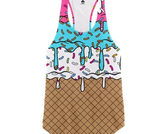 Ice Cream Cone Racerback Tank Top