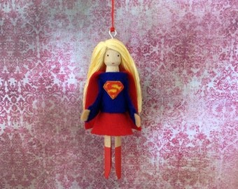 Supergirl Clothespin Doll Ornament