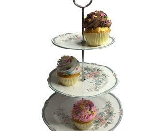 Wedding Cake Cupcake Stand, Bridal Shower Gift, Dessert Stand, 3 Tiered Plate Stand (Item# 213-2)