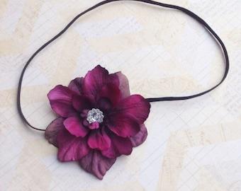Purple and black delphinium flower headband,purple headbands,baby headbands,infant headbands, girls headbands