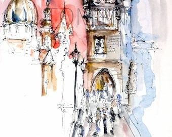 Charles Bridge. Prague. Original   watercolor  painting