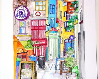 London's Covent Garden.  Neals Yard Salad Bar. England.   Original watercolor painting.