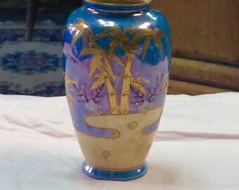 Lusterware Hand Painted Vase c.1940 Japan!