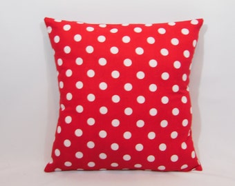 Custom made red and white polka dot pillow cover/sham. Multiple sizes to choose from.