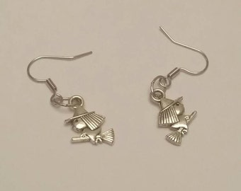 Handmade drop earrings with witch charm