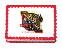Transformers Optimus Prime and Bumblebee Edible Image Cake Topper Birthday Party Supplies