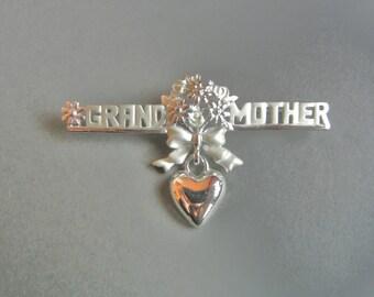 Vintage Danecraft Grandmother Pin, Grandmother Pin, Grandmother Brooch, Silver Grandmother pin, Silver Grandmother brooch,