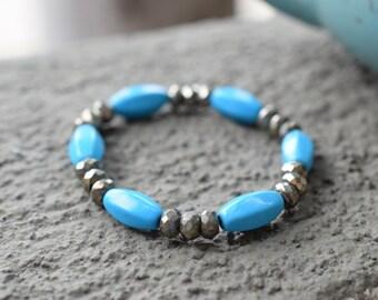 Turquoise Magnesite Pyrite Healing Crystal Bracelet • Wealth Manifestation • Creative Visualization • Protection Stone • Reiki Charged