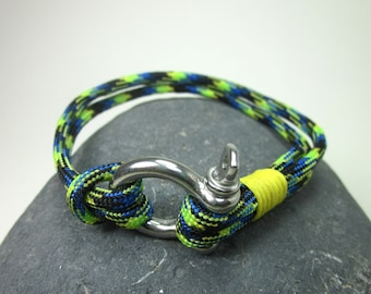 EXPRESS SHIPPING Paracord Bracelet,Survival Bracelet,Nautical Sailing Bracelet Stainless steel Shackle-Mens Bracelet-neon Yellow Blue