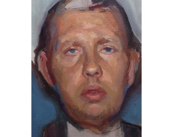 Head Study (Man with Open Mouth) - 9x6, oil on archival paper