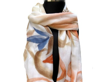 Hand painted  scarf/ multicolored scarf/ floral scarf/  scarf / white scarf/ gift scarf/  gift ideas.