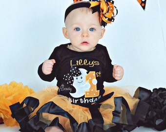 Girls First Birthday - First Halloween - Halloween Birthday Outfit - Halloween TUTU - Orange And Black Outfit - OTT - Headband - Set Ghost