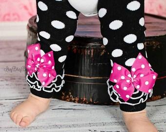 Pink and black polkadot ruffle leg warmers bow