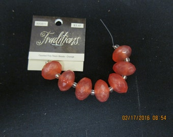 Orange Resin Poly Faceted Beads
