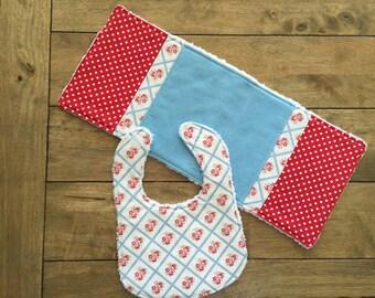 2 pc Tanya Whelan Baby Girl Bib and Burp Cloth Set