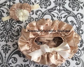 CREAM  and BEIGE tutu bloomer set,  baby headband and ruffle diaper cover, cream and beige set, satin all around tutu bloomer, satin bow.