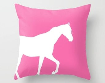 Horse Throw Pillow Cover Bubblegum Pink Horse Decor Horse Pillow Home Decor Living Room Bedroom Couch Cushion Decorative Pillow