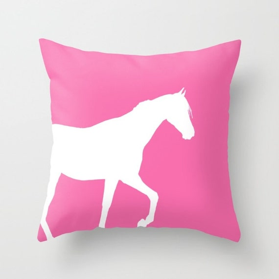 Horse Throw Pillow Cover Bubblegum Pink Horse Decor Horse