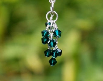Green Swarovski Elements Sparkling Shimmer Wire Wrapped Pendant