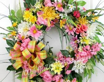 SALE! CLEARANCE!! Summer Grapevine Wreath, Silk Flower Door Wreath, Summer Floral Wreath, Summer Wreath, Front Door Wreath