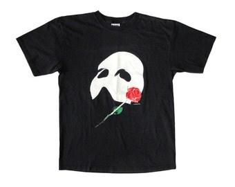 Vintage Phantom of the Opera Mask & Rose Black T-Shirt Large 80s Play Musical
