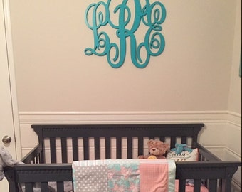 Wooden Monogram Wall Hanging large wooden monogram wall hanging letters for nursery