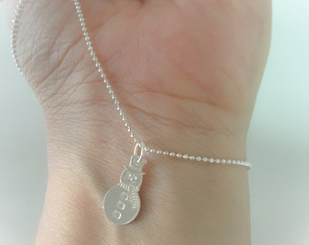 925 sterling silver necklace with snowman pendant