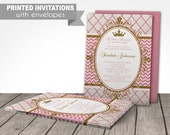 pink gold princess PRINTED invitations, pink gold invitation, printed with envelopes, princess party, first birthday or any age, customized