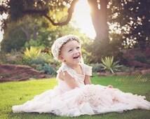 Flower Girl Crown- Pale Pink & Gold Flower Girl Wreath - Bridal Flower Crown- Blush Hair Wreath- Baby Flower Crown- Photo Prop- Golden Halo