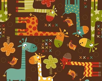 "Sale 15% Off Riley Blake Designs ""Giraffe Crossing"" byThe RBD Designers. 100 Percent cotton/Giraffe Main Brown"
