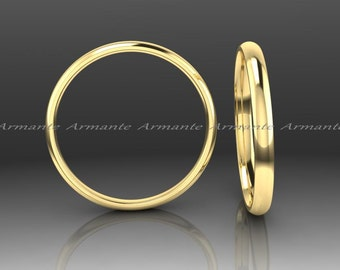 Rounded Wedding Band / Yellow Gold Ring / 2.00mm Wide Comfort Fit Wedding Band / 14K Yellow Gold / Stuck Band