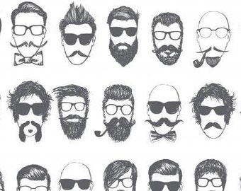 Dear Stella Hipster Barbershop White-  Mustache/beard/hair fabric, gray and white fabric