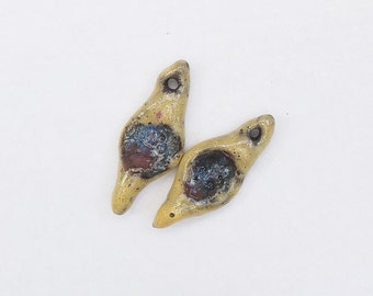 Withered Stone Dangles - Withered Rough Artifacts -  Earring Pair Ceramic Dangles by Donna Perlinplim