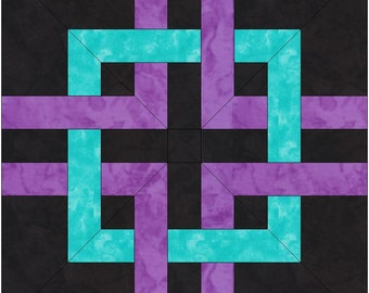 Structured Celtic Knot 40x40 Inch Paper Template Whole Quilt Block Pattern