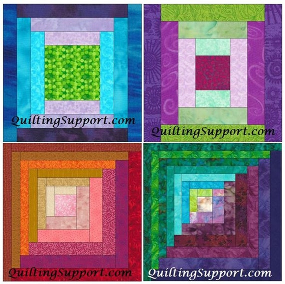 Paper Piecing Quilt Patterns Log Cabin : Log Cabin Set 2 Paper Foundation Piecing Quilting 4 Block