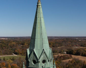 Holy Hill, National Shrine of Mary, Basilica Spire in Fall Autumn WI Wisconsin Fine Art Photography by Rose Clearfield on Etsy
