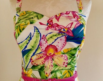 50's Style Wiggle Sundress, in Totally Tropical, ivory fabric, from Bird of Paradise Clothing.