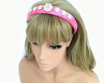 Diamante Jewelled Headband Hair Band in Padded Candy Pink Pearl Cabochon for Bridesmaid