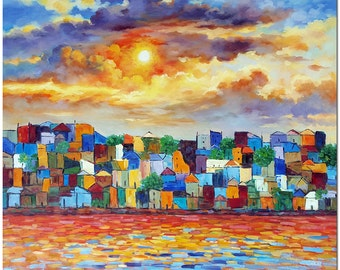 Landscape of Sunset Charm - Signed Hand Painted Contemporary Impressionistic Oil Painting On Canvas