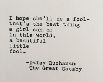 Quotes From The Great Gatsby Inspiration Daisy Buchanan Quote  Etsy