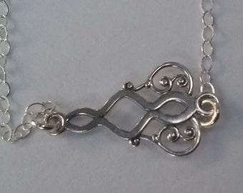 Necklace, Steling Silver Filigree Pendant  Necklace, with Sterling Silver  Lobster Claw Clasp