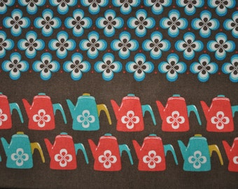 Melody Miller Ruby Star Shining - Brown Red Teal Coffee Tea Pots - Cotton Linen Fabric